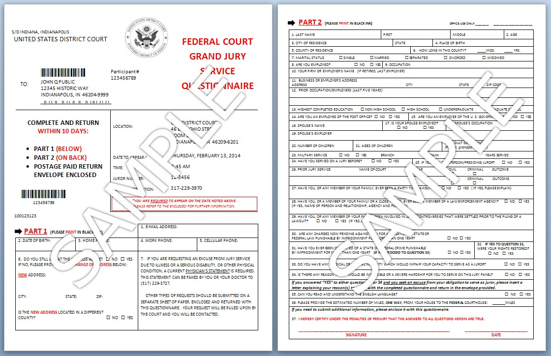 Grand Jury Service  Southern District of Indiana  United States District Court