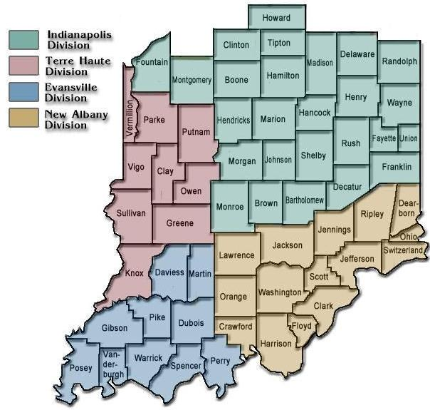 Federal District Court Map District Map | Southern District of Indiana | United States